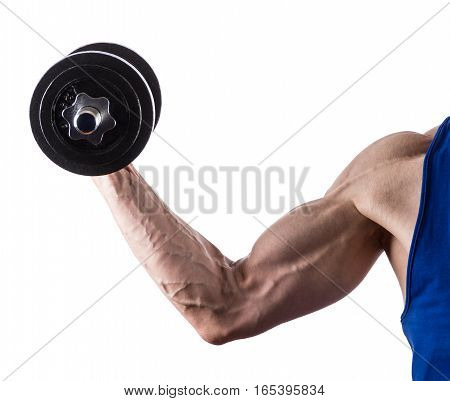 Man's hand with dumbell isolated on white background