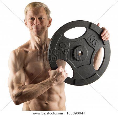 Man With Naked Torso Holding Weight Plate On White