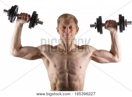 Man Does Exercise With Dumbbells For Deltoid Muscle
