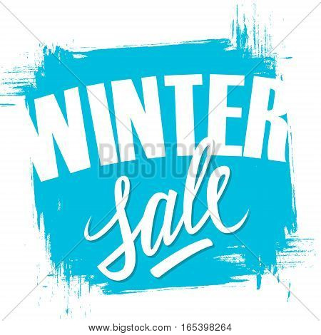 Winter Sale. Special offer banner with handwritten element and brush stroke background for business, promotion and advertising. Vector illustration.
