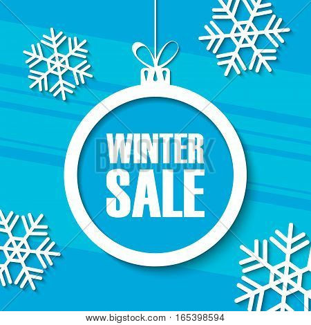 Winter Sale. Special offer banner with christmas ball and snowflakes. Vector illustration.