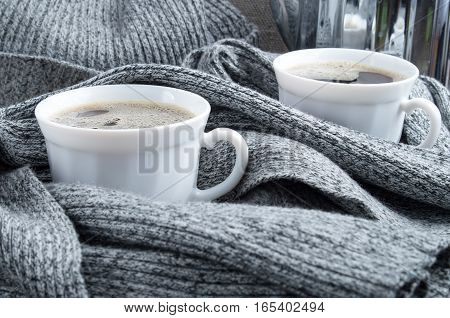 2 White Cups Of Coffee Close-up