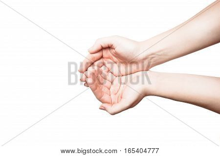 woman Open palm gesture. isolated on white background
