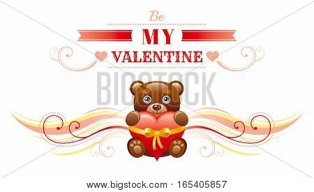 Happy Valentines day border, toy bear with heart. Romance, love text lettering, isolated frame white background. Cute romantic Valentine banner vector illustration. Abstract design. Flat cartoon sign
