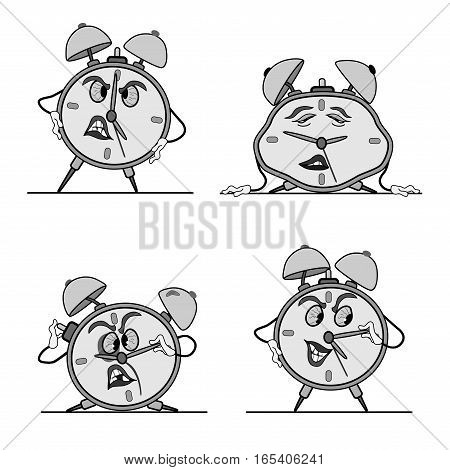 alarm clock, four different postures. funny, angry, drunk and asleep. funny caricature.