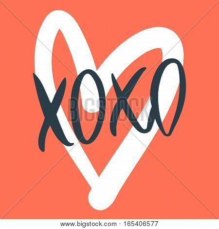 Romantic decorative poster with handdrawn lettering. Modern ink calligraphy. Handwritten black phrase XOXO and white heart on red. Trendy vector design for Valentines Day or wedding