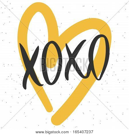 Romantic decorative poster with handdrawn lettering. Modern ink calligraphy. Handwritten black phrase XOXO and yellow heart on white. Trendy vector design for Valentines Day or wedding