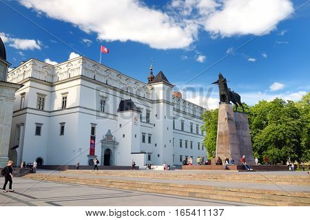 Vilnius, Lithuania - August 11, 2016: The Cathedral Square, Main Square Of The Vilnius Old Town