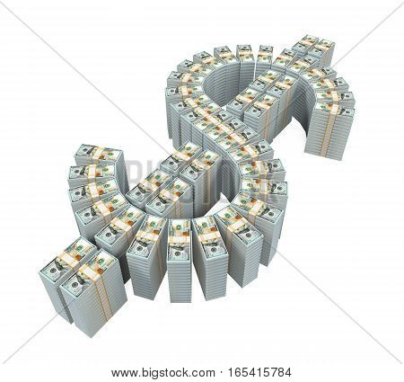 Stacks of New 100 US Dollar Banknotes isolated on white background. 3D render