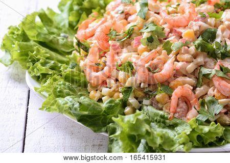 Salad with shrimps crab sticks & corn