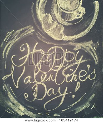 Lettering Happy Valentines Day. Cup Of Hot Tea, Cookies