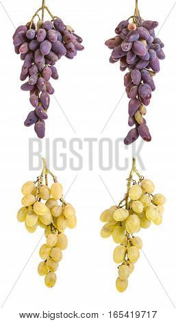 Bunch Of Ripe Yellow Grapes. Isolated On White Background