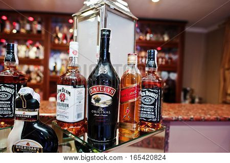Hai, Ukraine - January 5, 2017: Different Bottles On Bar Reception With Baileys In The Center.