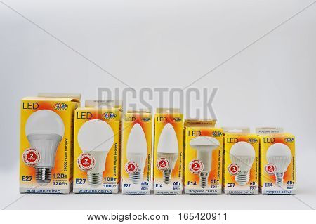 Hai, Ukraine - January 5, 2017: Different Led Lamps On Boxes Isolated On White.