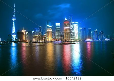 Economic Center of China - Night View of Shanghai with Pearl Tower