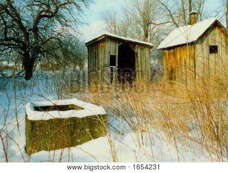 Abandoned Farm Buildings In Winter