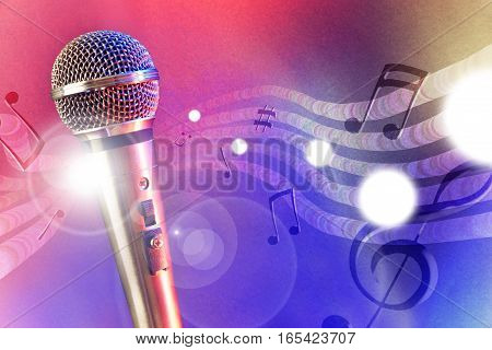 Illustration Microphone With Red And Blue Lights Horizontal