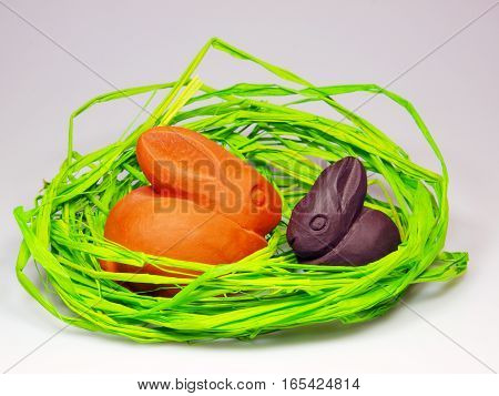 Easter and spring decoration with bunnies in nest