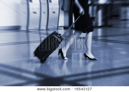 bags at the airport, motion blur