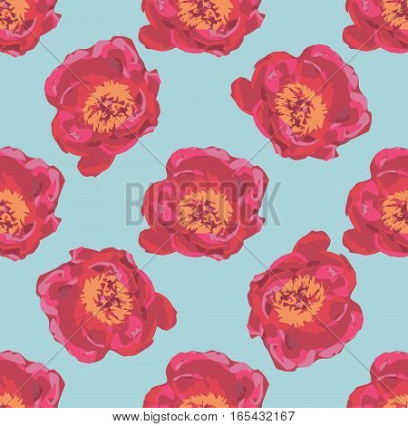 Bouquet of Red Peony flowers. Seamless summer floral background pattern Illustration.