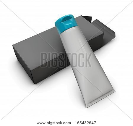 3D Illustration Of Blank White Tubes With Opened Box Isolated On White Background