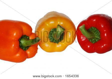 Three Bell Peppers In A Line