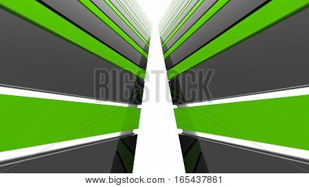 Futuristic black and green architecture background. Abstract architectural building of the future. 3D rendering.