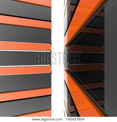 Futuristic black and orange architecture background. Abstract architectural building of the future. 3D rendering.