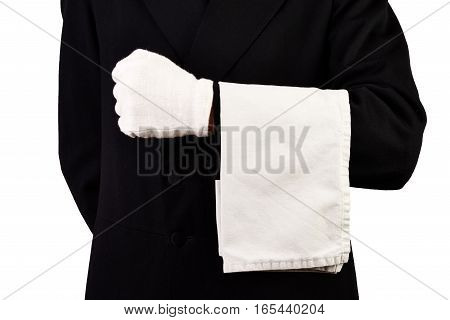 Men with suit white gloves and towel isolated White background
