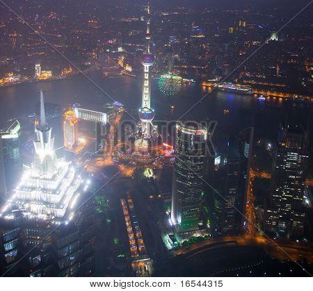 Bird's eye view of Shanghai Pudong at night