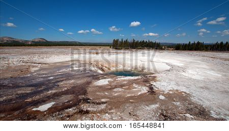 Opal Pool in the Midway Geyser Basin in Yellowstone National Park in Wyoming USA