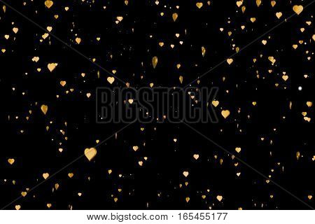 Valentine Day Gold Hearts Shape Rise Like Frizz Champagne Golden Bubbles Movement On Black Backgroun