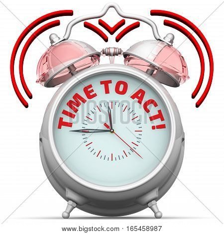 The alarm clock with an inscription. Alarm clock with the red words