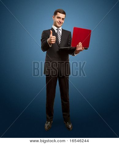 Businessman With Laptop Shows Well Done