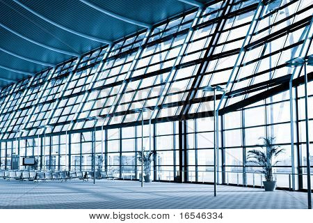 interior of the modern  architectural  in shanghai pudong airport.