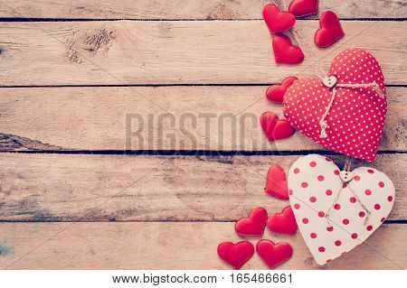 Heart Fabric Frame On Wooden Table Background.