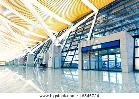 Modern Architecture of  airport, walkway and roof with nobody scene.