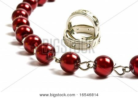 Beautiful Red String Of Beads And Rings