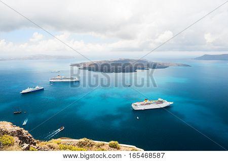 Cruise Ships At The Sea Near The Greek Islands.