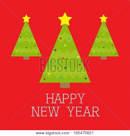 Three fir Christmas tree set with star top tip light ball toy set. Happy New Year card. Flat design. Red background. Vector illustration