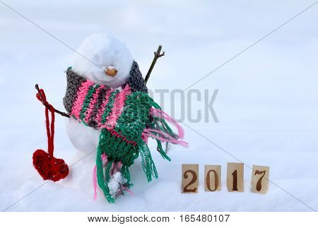 amorous snowman in a warm scarf on the background of snowy landscape / celebration day enamored 2017