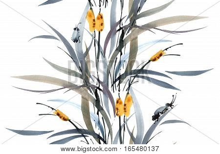 Watercolor and ink illustration of grass with cicadas. Sumi-e u-sin painting. Oriental traditional style. Seamless pattern.