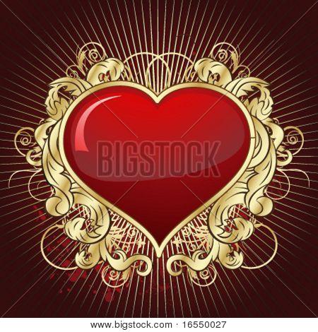 Vintage gold heart