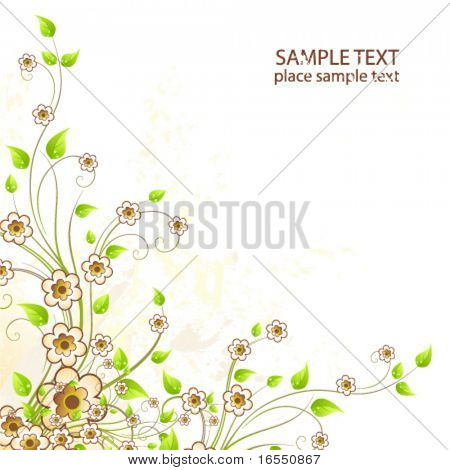Flower design card. Vector.
