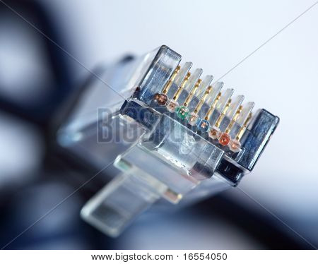 Close up of clear plastic head of RJ45 or 8P8C network cable