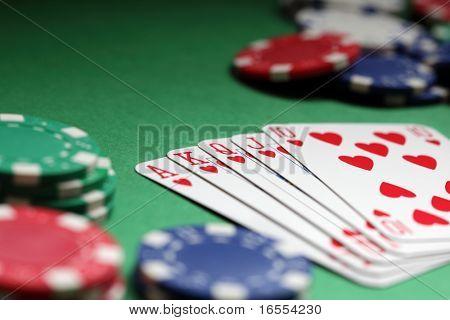 Winning hand in poker royal flush with gambling chips