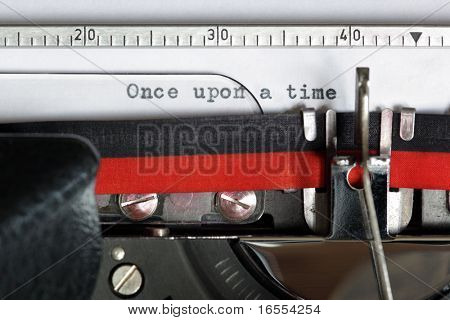 Once upon a time typed on an old antique typewriter