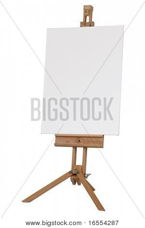 Wooden artists easel with blank canvas isolated on white background
