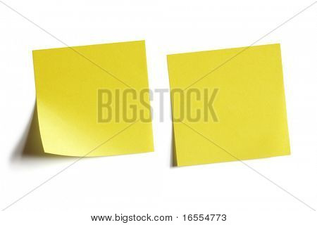 Two yellow sticky note reminders on a white background
