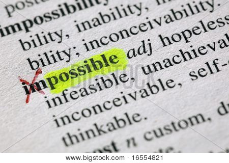 The word possible highligted from impossible in a dictionary